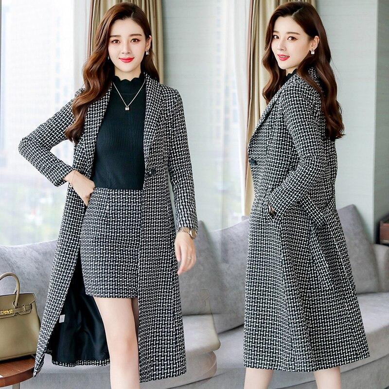 Woolen dress women's two piece 2018 fall/winter new women's Korean temperament long woolen coat suit|Dresses| - AliExpress