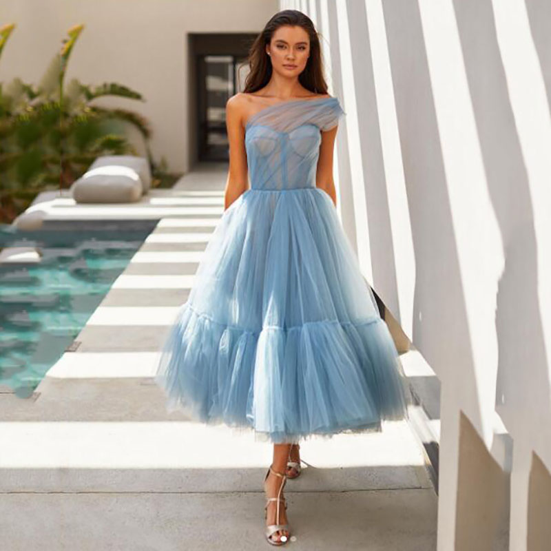 Tea-Length Cocktail Dresses 2021 Dusty Blue One Shoulder Pleat Ruched Elegant A-Line Short Party Evening Gown Tulle Custom Made