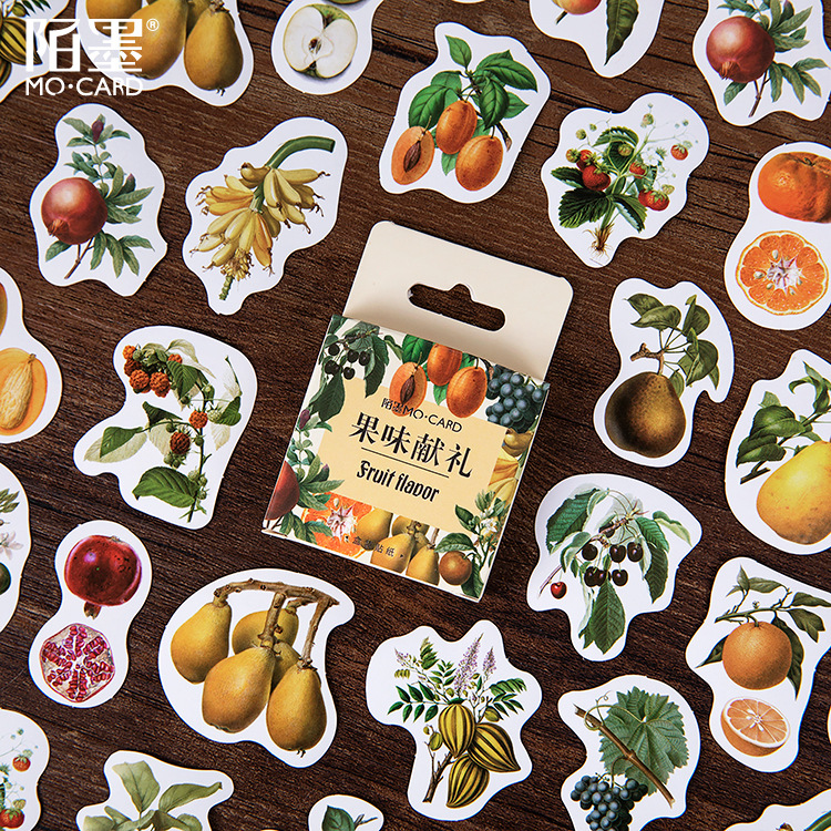 Mohamm 45 PCS Boxed Stickers Fruity Gifts Cartoon Decoration Sticker Flakes Scrapbooking School Supplies