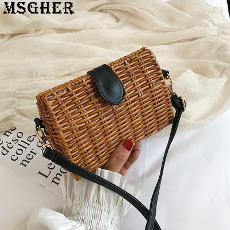 MSGHER Straw Flap Panelled Lether Women Bag Summer Beach Pastoral Style Shoulder Bag Bohemian Style Casual Female Bag WB2689