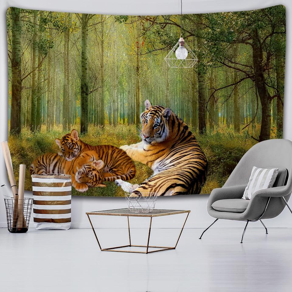 Лесных животных Белый гобелен с изображением тигра на стене гобелены крышка пляж Полотенца пледы Одеяло Пикник йога коврик для украшения д...