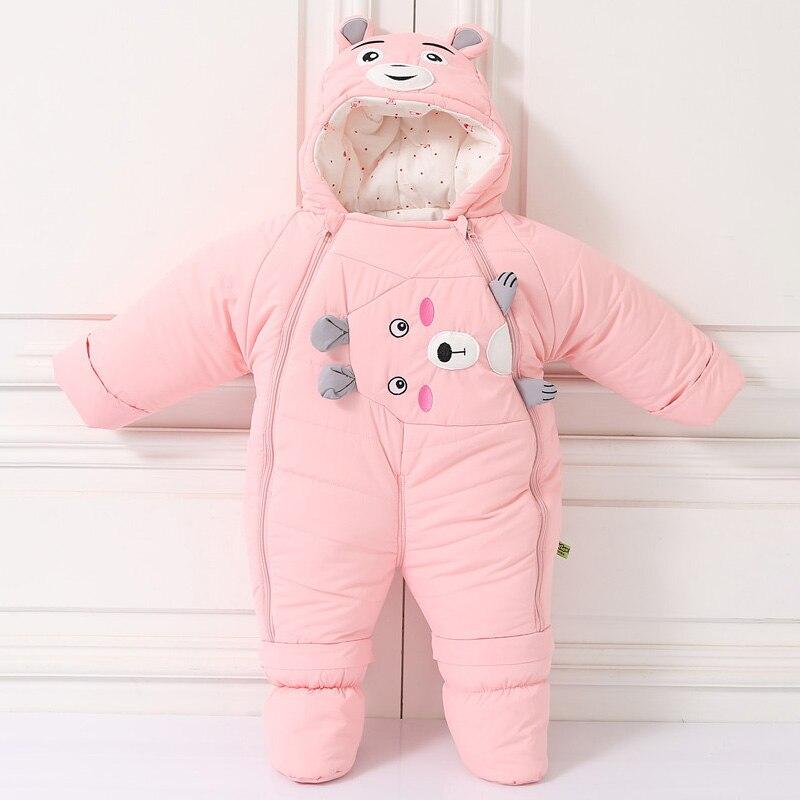 2020 зимний комбинезон для маленьких девочек с медведем, Мультяшные теплые комбинезоны для мальчиков, хлопковая ребристая Одежда для новорожденных, милая одежда унисекс, комбинезон для младенцев 2