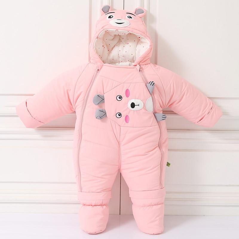 pureborn Unisex Baby Romper Winter Thicken Coveralls Cartoon Hoodie Bodysuit Snowsuit Onesie Outfit Playsuit