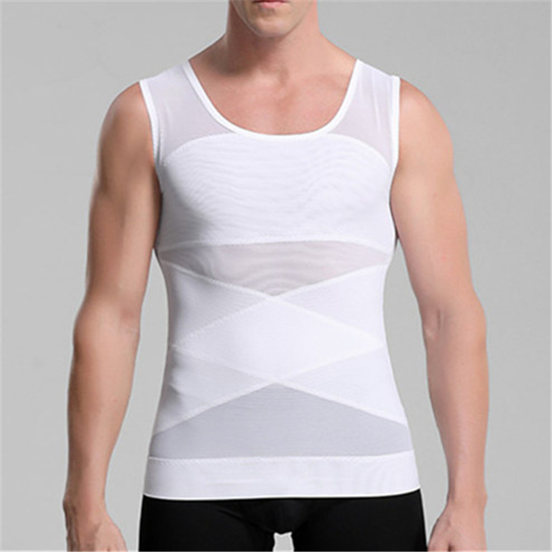 Chest Compression Vest Men Gynecomastia Body Shaper Sleeveless Posture Corrector Slimming Waist Control Tummy Trimmer Tops