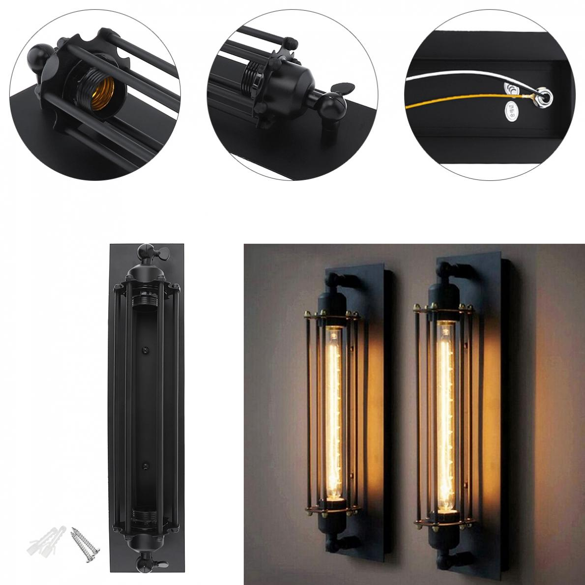 T300 50cm Industrial Rustic Long Black Wall Sconce Plate Lamp Retro Vintage Lighting Online Shop