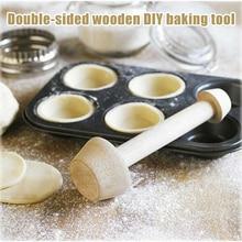 New Egg Tarts-Tamper Double Side Wooden Pastries Pusher DIY Cake Baking Shaping Kitchen Tool Wooden Egg Tart Making FKU66