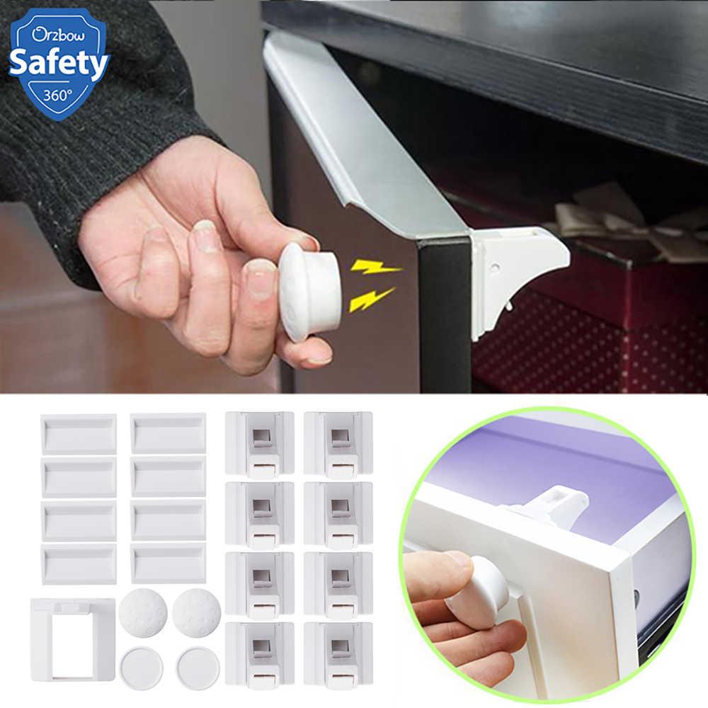 מגנטי ילד מנעול בטיחות תינוק קבינט מגירת דלת מנעול ילדי Invisible הגנת ילדי מנעול אבטחת 4/8 מנעולים + 1/2 מפתח