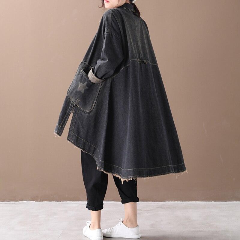 Image 3 - CHICEVER Vintage Korean Denim Women Dresses Lapel Collar Long  Sleeve Asymmetrical Loose Dress Female 2020 Autumn Fashion NewDresses