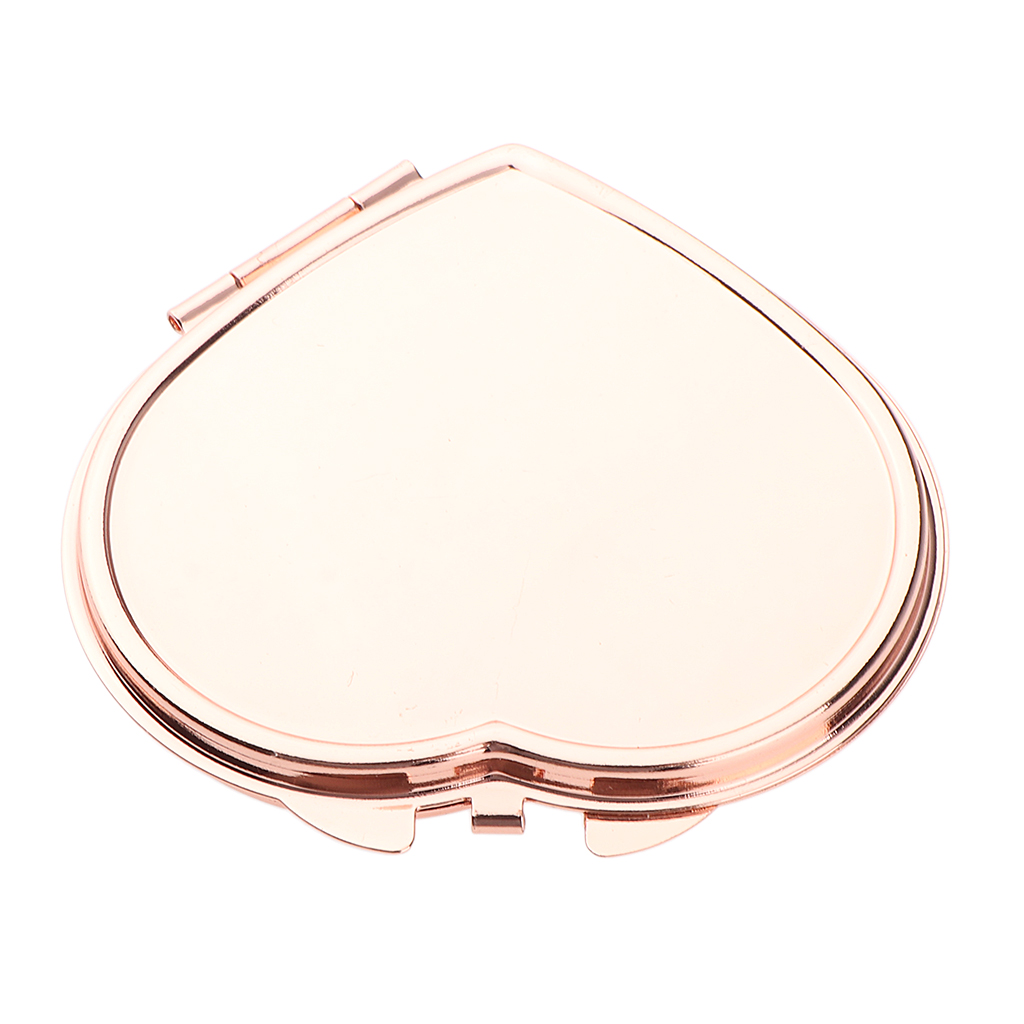 Heart Shaped Double Sided Compact Mirror Small Handheld Makeup Mirror For Pocket Purse Or Travel Women