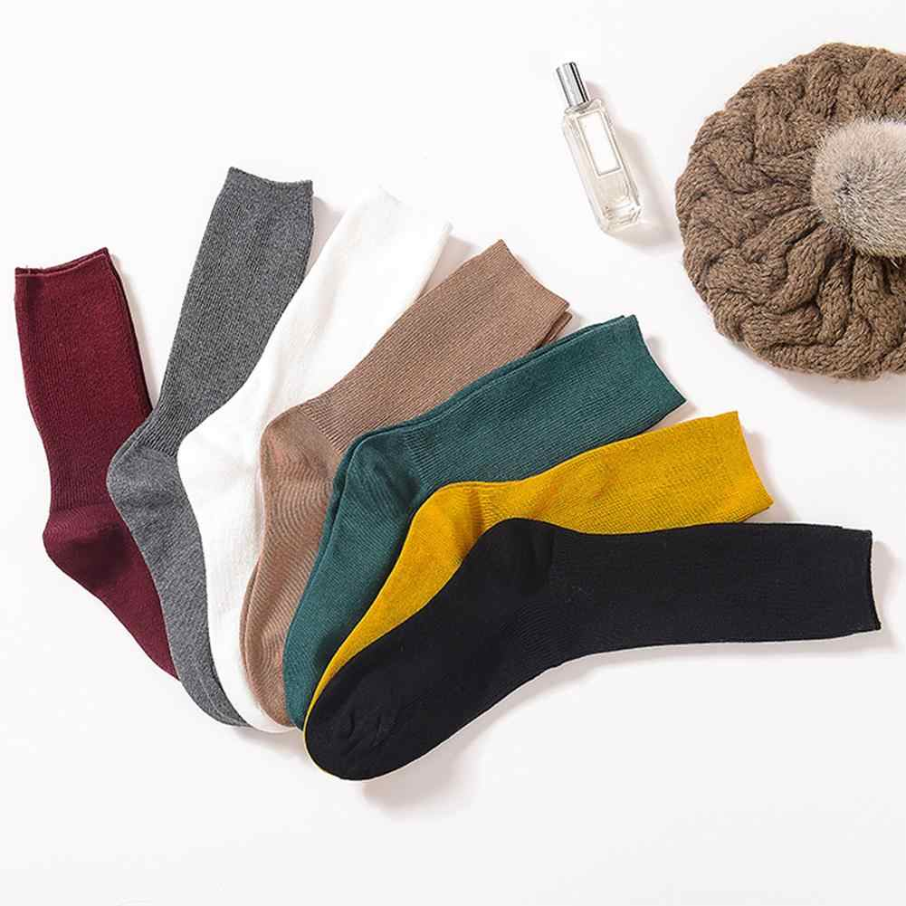 Autumn Winter Solid Color Breathable Cotton Elastic Middle Tube Pile Heap Socks