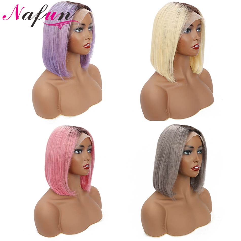 13x4 T1B Hot Pink/Gray/Purple/ Blonde Lace Front Wig Short Human Hair Wigs Peruvian 613 Lace Front WigNon-Remy Straight Bob Wig