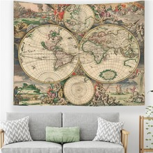 Vintage World Map Wall Tapestry Historical Art Print Map Tapestry Hanging for Bedroom Decor wall hanging art decor corroded wall print tapestry