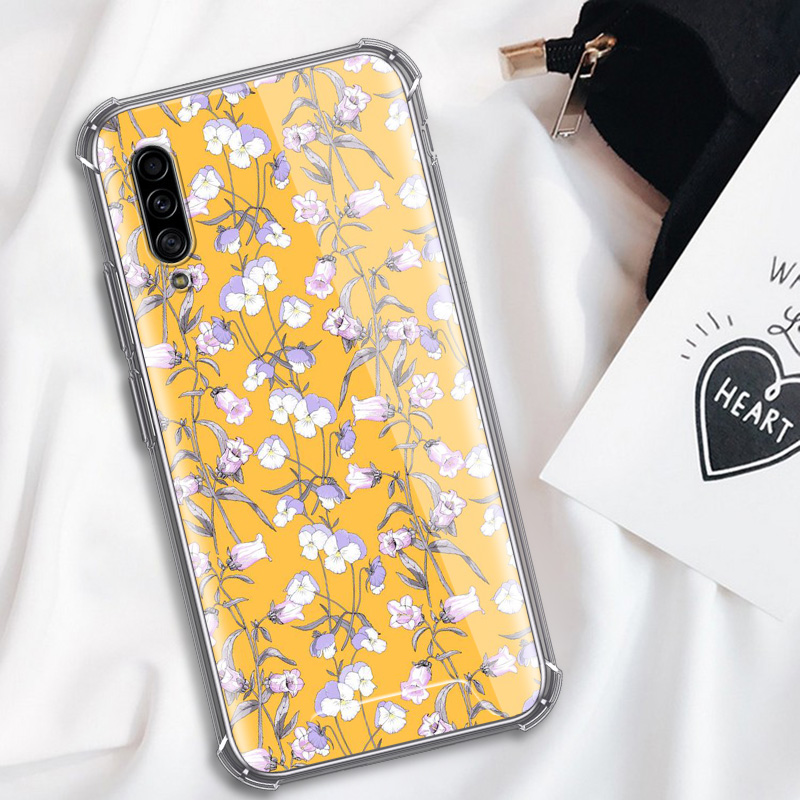 Aesthetics Yellow Pattern Case For Samsung Galaxy A50 A70 A70s A50s A40 A30 A20e A20s A10s A10 Airbag Anti Fall Phone Covers