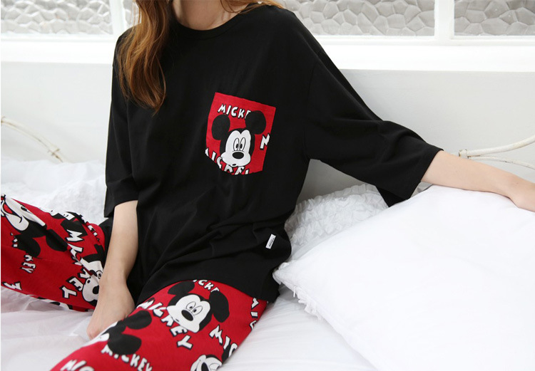 2019 Fashion Lovely Leisure Two Piece Set Mickey Printing Indoor Clothing Home Suit Sleepwear Winter Pajamas Woman Pijama Mujer 47