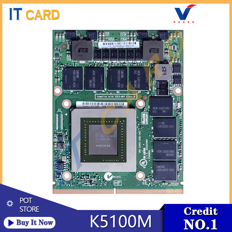 Quadro K5100M K5100 GDDR5 8GB Vedio Graphics Card N15E-Q5-A2 With X-Bracket For Dell M6700 M6800 HP 8770W ZBook15 G1 G2 Test OK