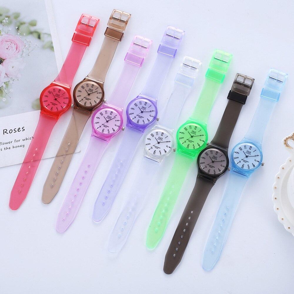 Kinder Uhren Schöne Nette Reine Farbe Silikon Rubber Strap Analog Quarz Uhr Jungen Mädchen Runden Zifferblatt Analog Kinder Armb