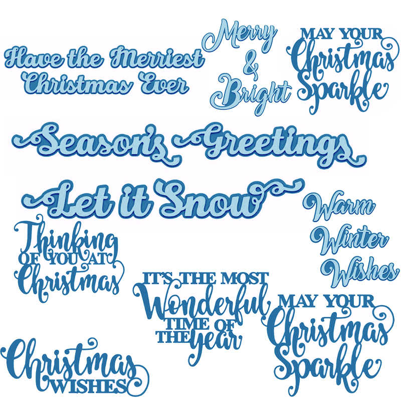 Holiday Snow Winter Christmas Words Mixed Phrases Metal Cutting Dies Stencil Scrapbook Album Embossing For Gift Card Making