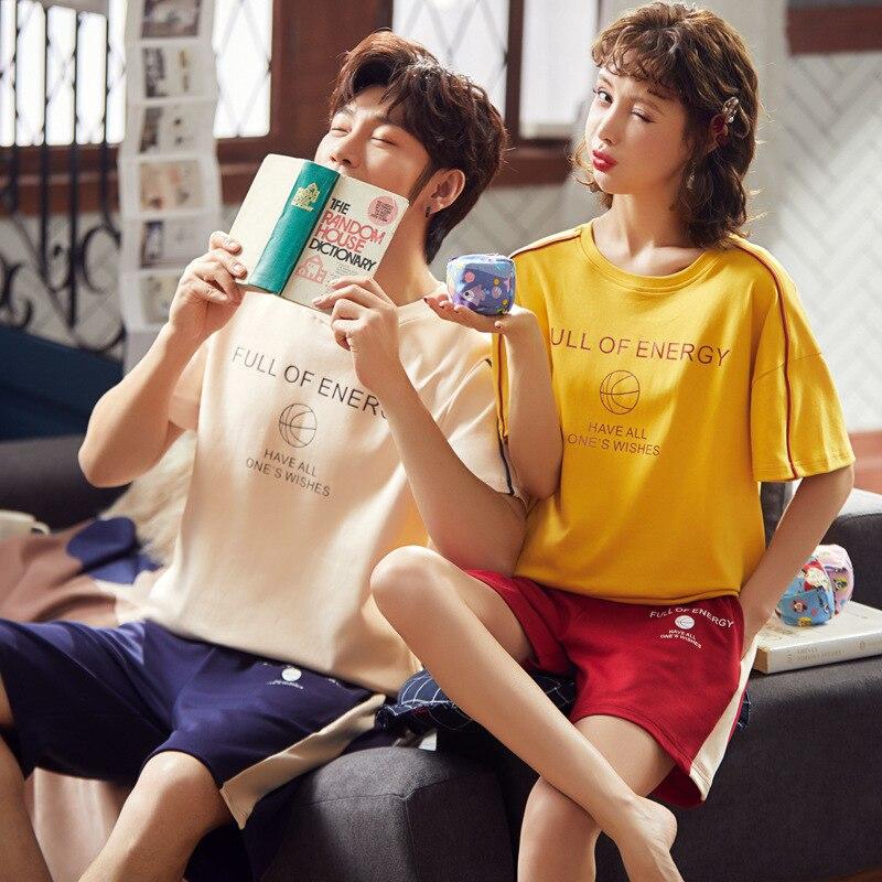 2020 Couples Pajamas Summer Pure Cotton Short Sleeve Korean-style Cute WOMEN'S Suit Summer Thin Men Homewear Set