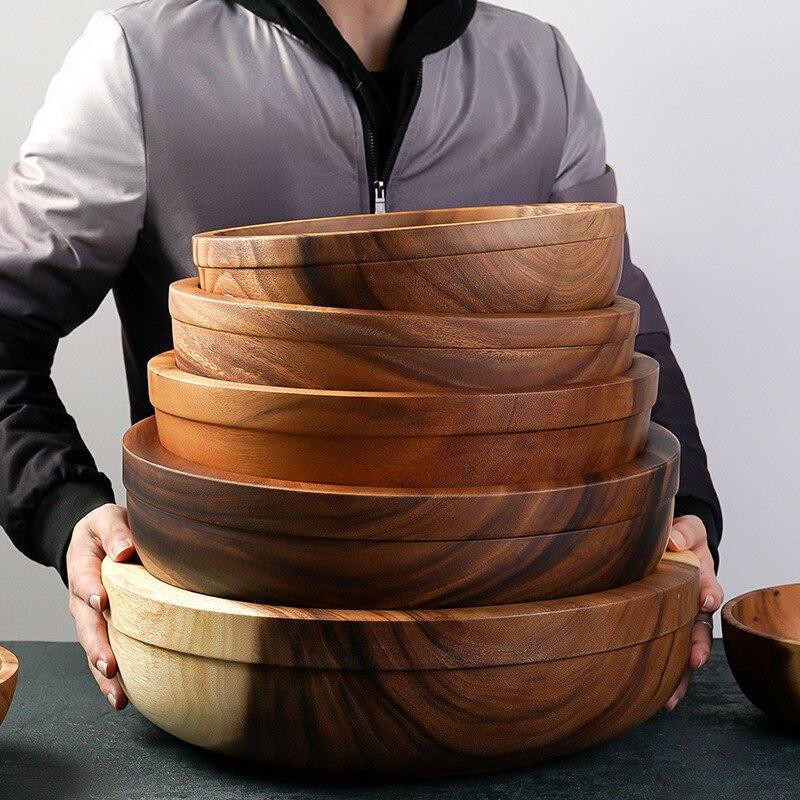 Bol à salade de grande taille | Bol en bois épais assiette à poêle, plats à fruits, soucoupe plateau à thé, Dessert dîner pain assiettes en bois