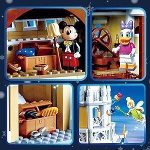 Image 5 - Cinderella Princess Castle Set mickey minnie architecture Building Blocks Bricks Compatible lepinglys 71040 girl Birthday Gifts