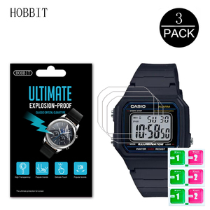Image 1 - 3Pcs PET Nano Explosion proof Film For Casio W 217 W217 Smartwatch Screen Protector LCD Anti shock HD Clear Guard Film Not Glass