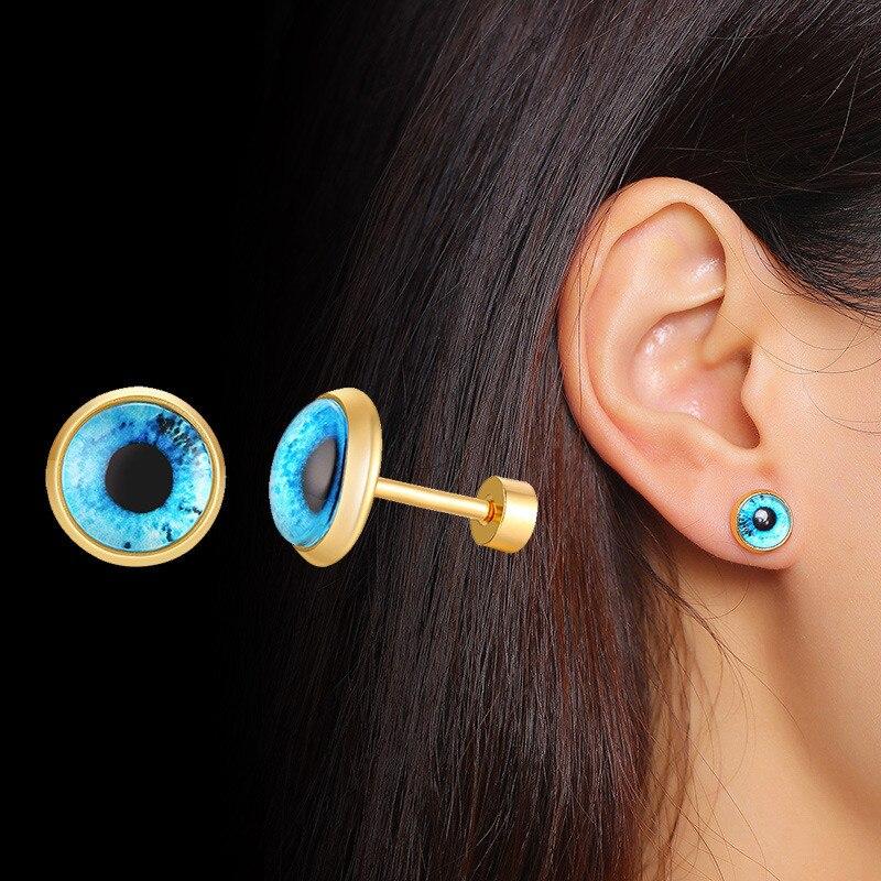ZORCVENS, злой голубой глаз, серьги, Духовная защита, круглые серьги для женщин, нержавеющая сталь, турецкие серьги, ювелирные изделия