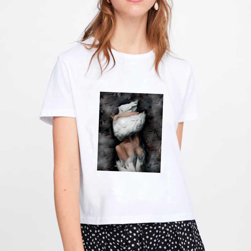 Yeni Moda Harajuku Estetik Tshirt Seksi Çiçekler Tüy Baskı Kısa Kollu Tees Tops kawaii Rahat Çift Tatlı Bayan T Shirt