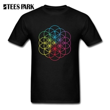 Funky Tee Shirts Coldplay A Head Full of Dreams Simple Heavy Metal Rock Music Band Man Cotton Short T Wholesale Tees Male