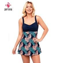 One-Piece Swimsuit PERONA Tankini-Set Retro-Print Plus-Size Women New Pin-Up