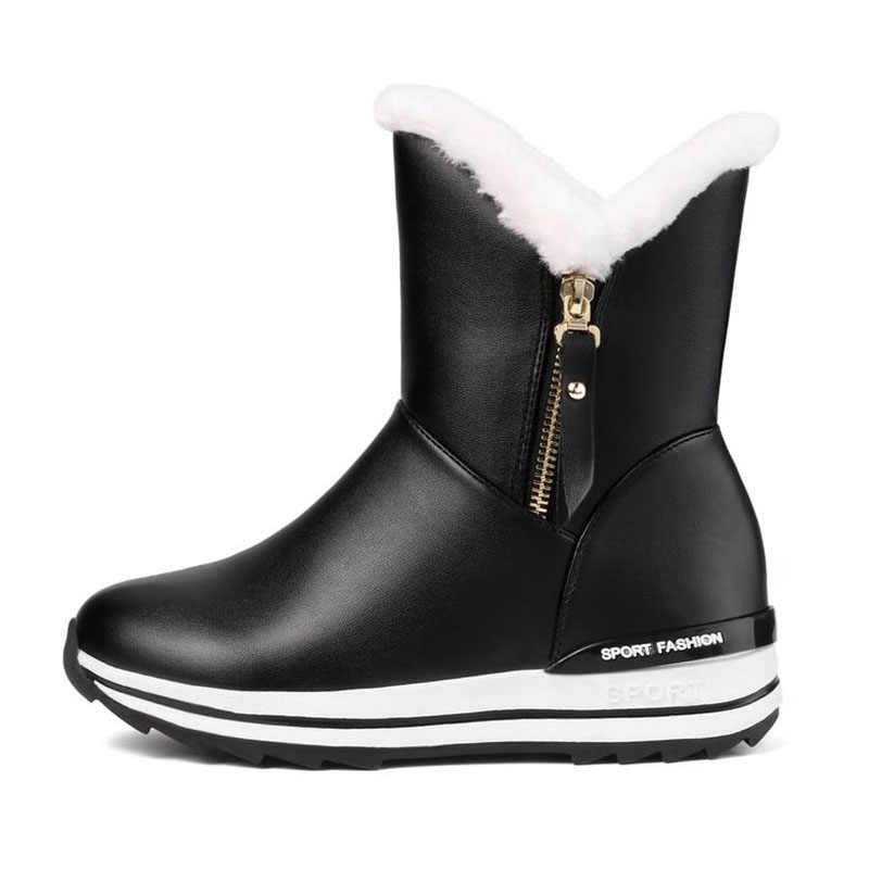 Taoffen 4 Renk Kış Sıcak Kadınlar yarım çizmeler Sıcak Peluş Kar Botları Rahat Günlük Ayakkabı Daireler kadın ayakkabısı Boyutu 31-42