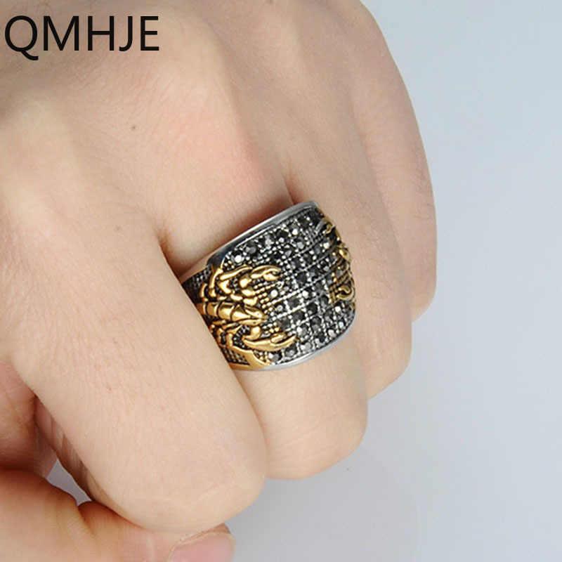 Qmhje Scorpion Pria Stainless Steel Signet Rings Seal Hip Hop Cincin Berlian Imitasi Pria Perhiasan Perak Warna Emas Klasik Oval