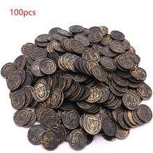 100pcs Pirate Treasure Game Poker Chips Gold Plating Plastic Poker Casino Coin