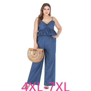 2019 new summer plus size sets for women large sleeveless loose casual denim sling tops and pants jumpsuits blue 4XL 5XL 6XL 7XL