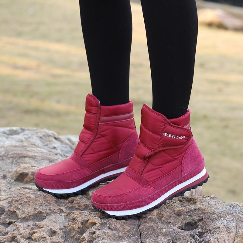 plus size warm plush snow boots 2019 hook&loop winter boots women shoes non-slip ankle boots waterproof platform shoes woman