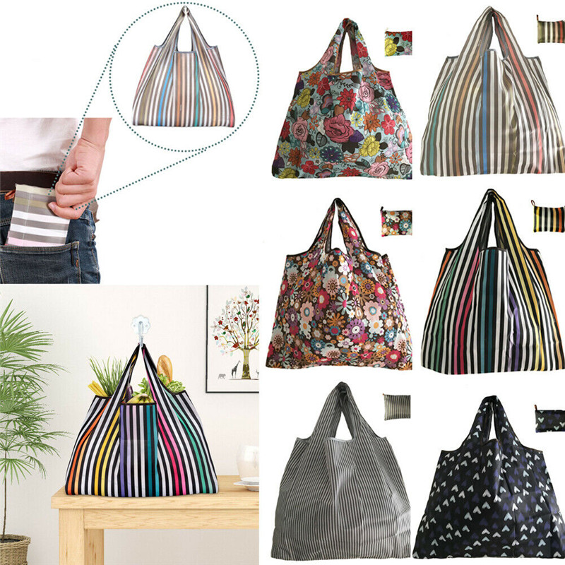 NoEnName-Null Reusable Foldable Ladies Shopping Bag Eco Floral Tote Handbag Fold Away Bag Hot