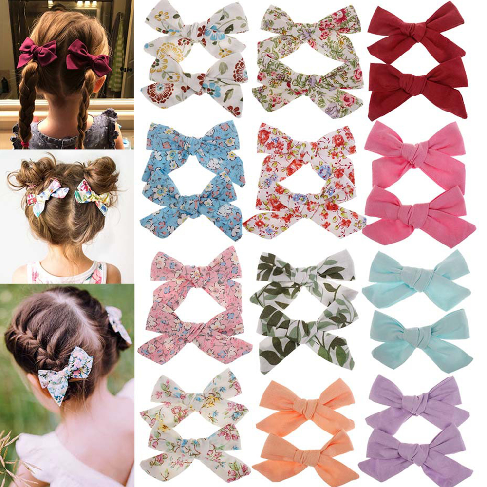 2pcs/set Baby Girls Kids Cotton Floral Print Flower Bowknot Hair Clips Barrettes Cute Lovely Bow BB Hair Clip