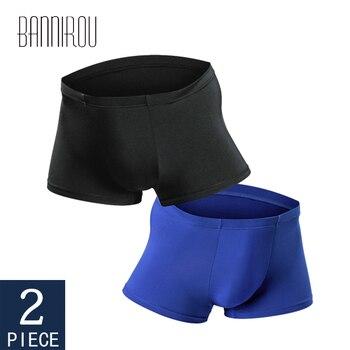BANNIROU Underwear For Mens Boxers Mans Underpants Boxershorts Man Shorts Convex Summer 2021 2 Pcs