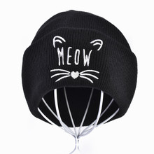New lady cat embroidery cotton cap fashion MEOW cute 100% Skullies hat Hip hop girl winter warm