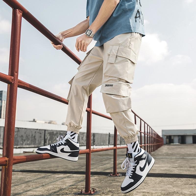 Уличная Мужская хип-хоп Беговые Брюки повседневные мужские брюки большой размер свободные спортивные брюки мужские 2020 новые мульти карман...