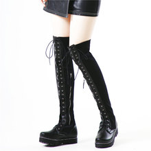 цена на Fashion Sneakers Women Black Stretchy Over The Knee High Military Boots Round Toe Platform Oxfords Shoes Lace Up Straps Creepers
