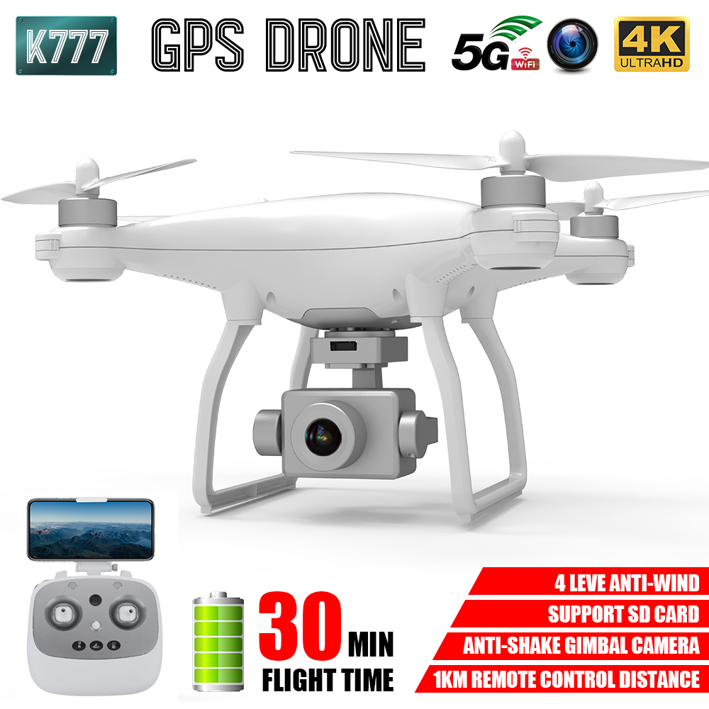 K777 GPS RC Quadcopter Drone 4K HD Gimbal Camera 5G WIFI FPV Brushless Motor 30Mins Flight 1KM Control Professional Helicopter