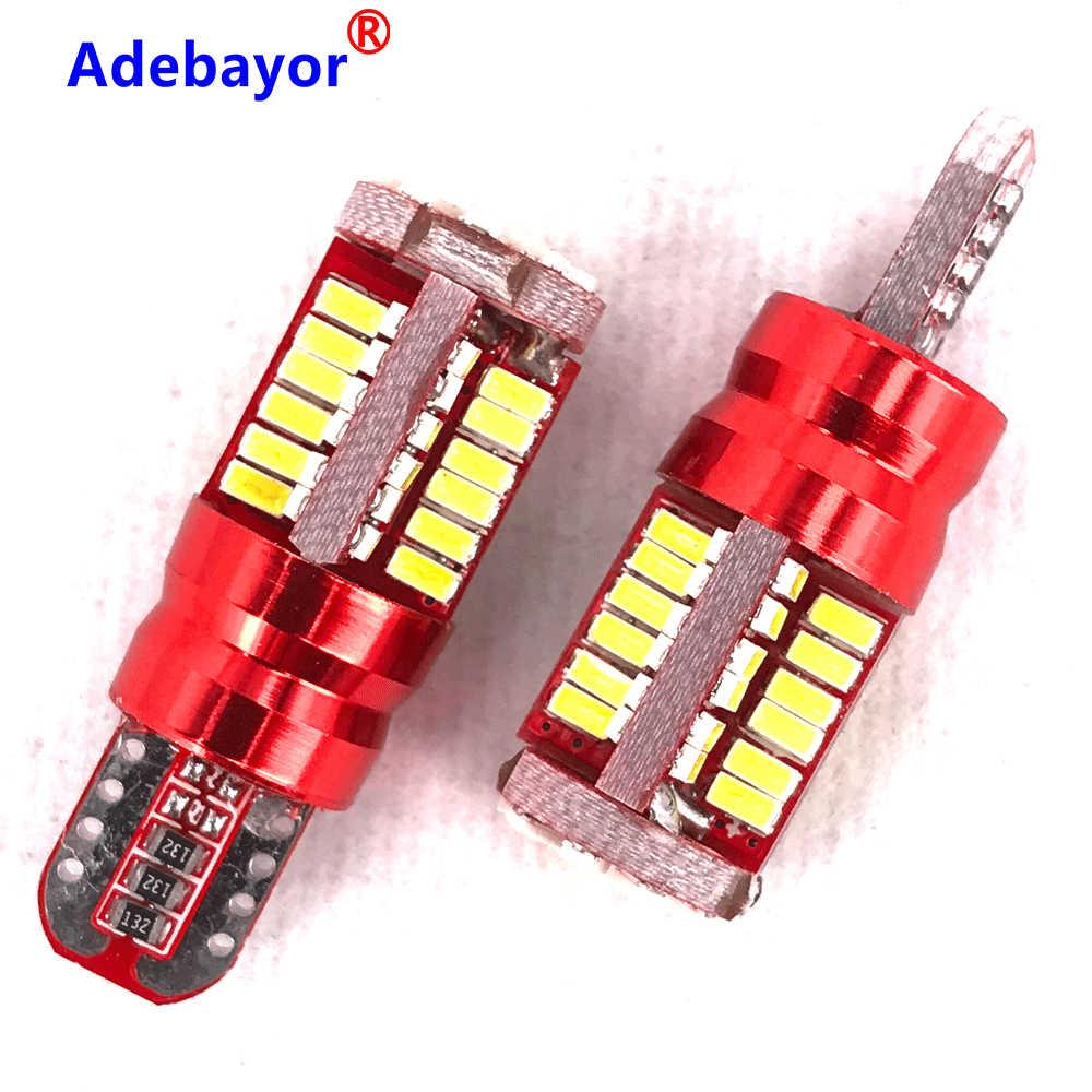 10 個 T10 168 192 W5W 57 SMD 3014 Led Can バスエラーなし車のマーカーライト駐車ランプ 57smd モーターウェッジ電球白赤青黄