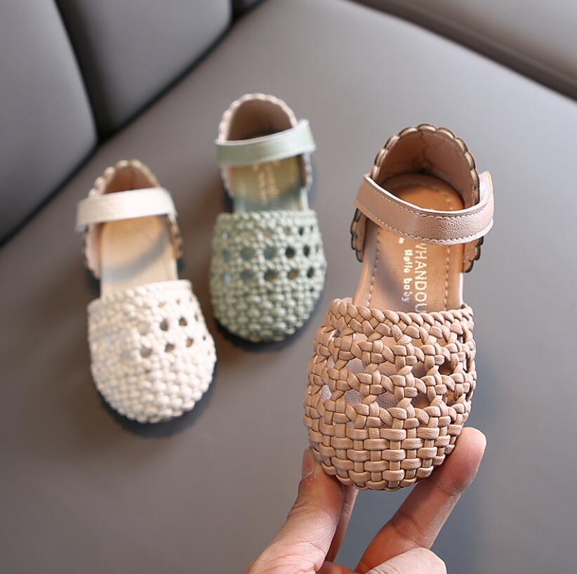 Kids Sandals 2020 Summer Toddler Girls Sandals Fashion Open Toe Children Shoes Princess Sandals Elegant Weave Beach Shoes