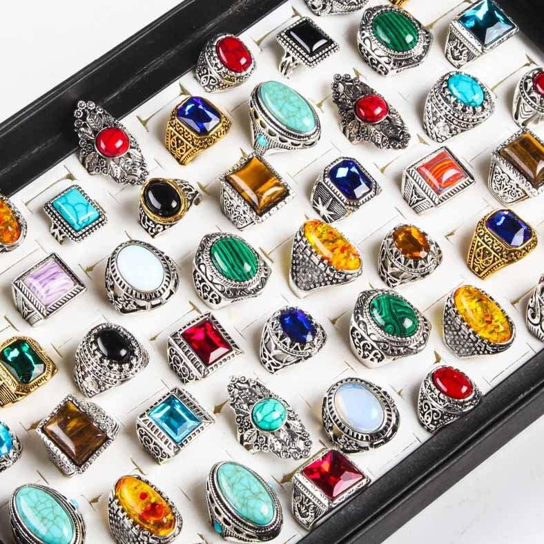 Тибетские серебряные кольца с натуральным камнем для мужчин и женщин, винтажные парные ювелирные украшения из сплава, бирюза, 20 шт./лот