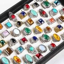 20 pçs/lote natureza pedra tibetano anéis de prata dos homens do vintage liga casal turquesa jóias anéis de casamento feminino lotes por atacado
