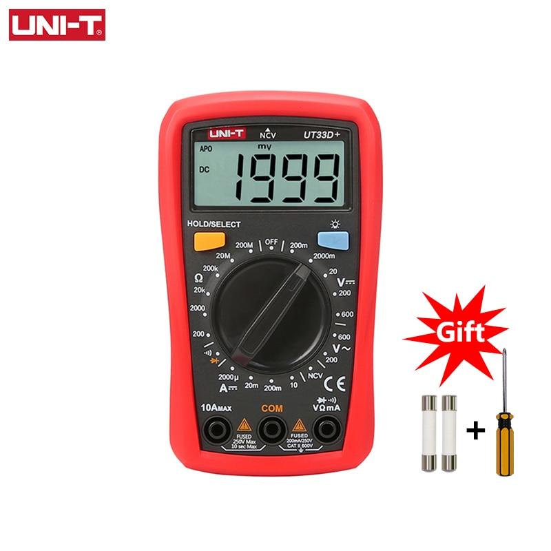 UNI-T UT33D+ Mini Digital Multimeter 600V NCV Palm Size Manual Range AC DC Voltmeter Ammeter Resistance Capatitance Tester