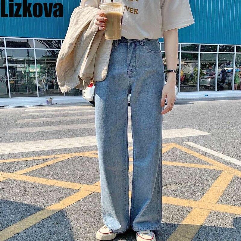 2020 Jeans Women Vintage Straight Pants Light Blue High Waist Dad Denim Pants Korean Style Streetwear MT6526
