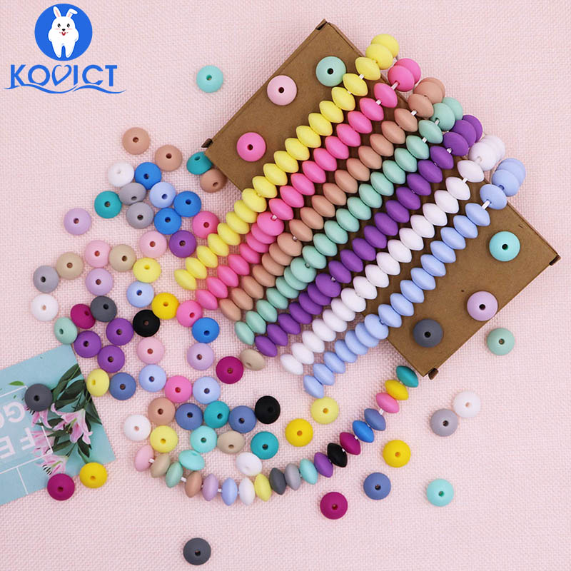 Kovict 50pcs Baby Teething Toys Pearl Silicone Beads Lentil 12mm Baby Teether Beads DIY Necklace Jewelry Bead Baby Care Toy