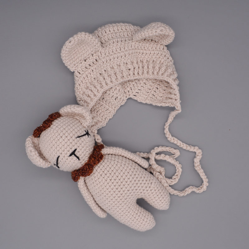 Baby Photography Accessories Newborn Boy Girl Photoshoot Props  Little Bear Hand Knitted Set  Infantil Bebe Costume Clothes