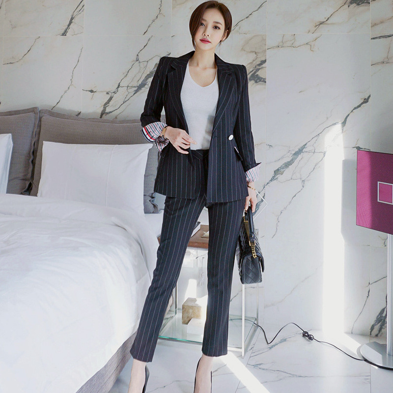 Autumn And Winter Women's Pants Suit High Quality Fashion Slim Striped Professional Ladies Jacket Blazer Casual Trousers 2019